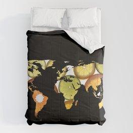 World Map Silhouette - Citrus Fruits Comforters