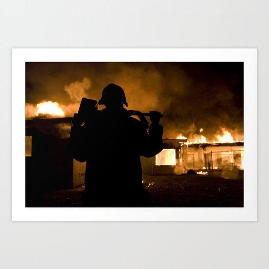 Firefighter-Burning House Art Print