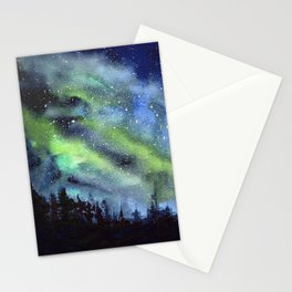 Galaxy Nebula Watercolor Northern Lights Aurora Borealis Stationery Cards