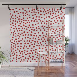 Red doodle dots Wall Mural