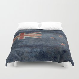 New Zealand Flag - Grungy retro style Duvet Cover