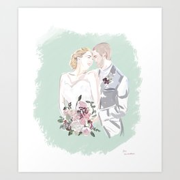 Mike and Stephanie wedding portrait Art Print