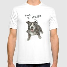 Hug a Staffie MEDIUM Mens Fitted Tee White