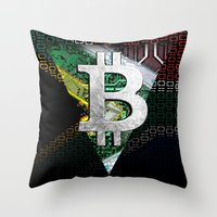 south africa Throw Pillows featuring bitcoin South Africa by seb mcnulty