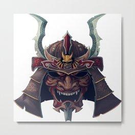 Japan Samurai Oni Mask Metal Print