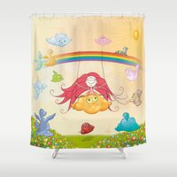 glee Shower Curtains featuring The paradise of fruits and clouds by victimArte