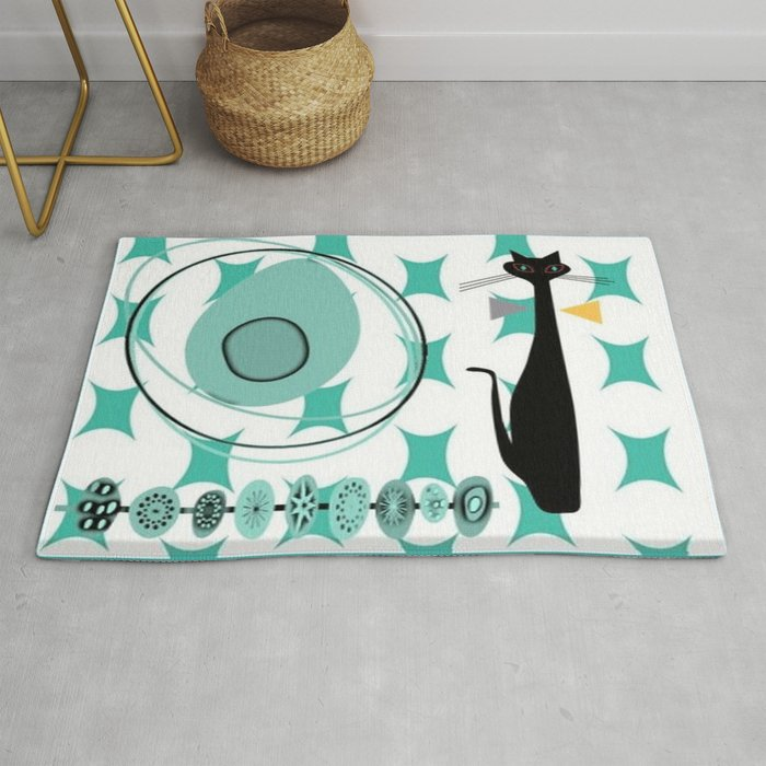 Mid-Century Modern Atomic Art - Teal - Cat Rug