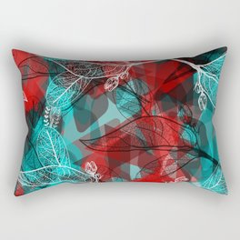 Abstract geometric pattern with Leaves contours. red maroo Rectangular Pillow