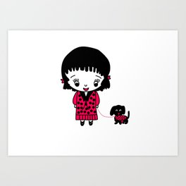 Whimsical Girl and her Pet Dog in Black and Red Art Print