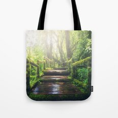 Green Jungle Forest Path Tote Bag