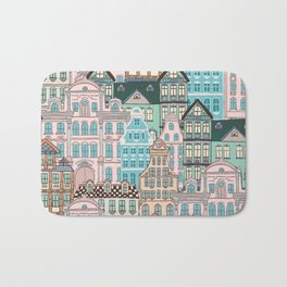 City Houses in Pastel Colours Bath Mat