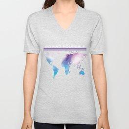 Go Find Yourself - Travel T-Shirt For Everyone, Backpacker, Traveler, Flight Catchers and Adventurer Unisex V-Neck