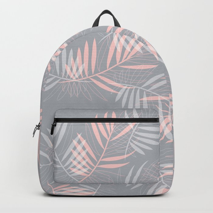Palm leaves lace pattern on grey Backpack