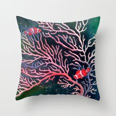 Clownfish and Coral Throw Pillow