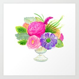 electricflora teacup watercolor Art Print