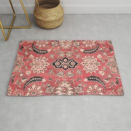 Vintage Blossom II // 16th Century Tibet Ornamental Moody Red Vines Colorful Ornate Rug Pattern Rug