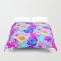 large Duvet Covers featuring Large Roses by Louise Elizabeth