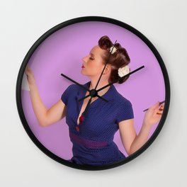 """Planning"" - The Playful Pinup - Polka Dot Dress Pinup Girl by Maxwell H. Johnson Wall Clock"