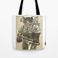saxophone Tote Bags featuring Space Cat with Saxophone by Felis Simha