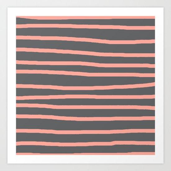 Simply Drawn Stripes Salmon Pink on Storm Gray Art Print