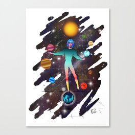 By the power of truth as long as I live, I will have conquered the universum Canvas Print