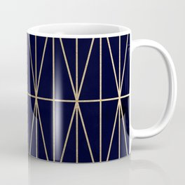 Modern gold geometric triangles pattern navy blue watercolor Coffee Mug