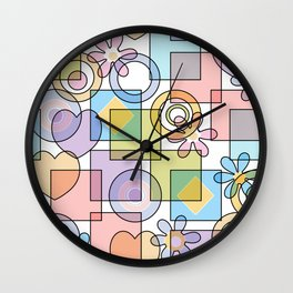 Geometrical abstract hearts squares flowers circles shapes pattern pastel colors Wall Clock