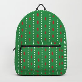 Christmas vector red and white vertical stitches aligned on green background Backpack