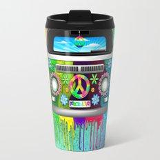 Hippie Bus Van Dripping Rainbow Paint Travel Mug