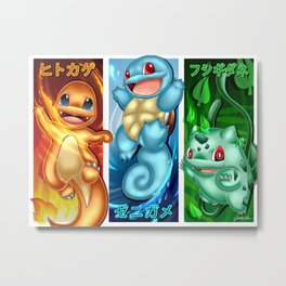 Kanto Starter Wallpaper Metal Print