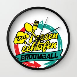 Broomball Broom Ball Sport Team Ice Spiel Geschenk Wall Clock