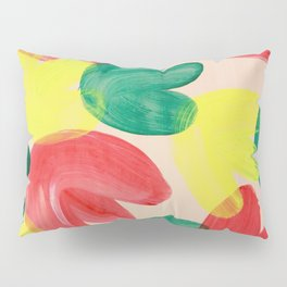 Vibrant Acrylic Painting Layered Tulips Floral Pattern Multi Colors Green Red Yellow Large Brush Pillow Sham