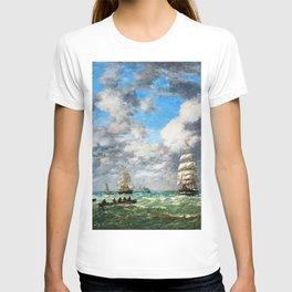 12,000pixel-500dpi - Eugene Louis Boudin - Leaving The Port Of Le Havre, Shipping - Digital Remaster T-shirt