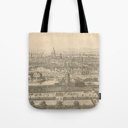 Vintage Pictorial Map of London England (1750) Tote Bag