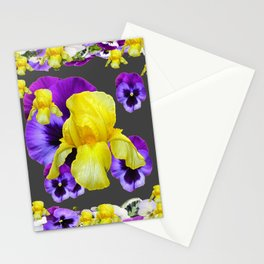 YELLOW IRIS PURPLE & WHITE PANSY GARDEN ART Stationery Cards