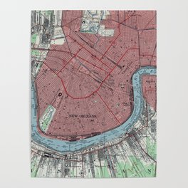 Vintage Map of New Orleans Louisiana (1954) Poster