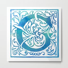 Letter G Antique Floral Letterpress Monogram Metal Print
