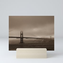 sepia - golden gate bridge Mini Art Print