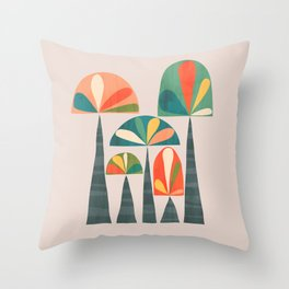 Quirky retro palm trees Throw Pillow