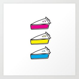 3 Pies - CMYK/White Art Print
