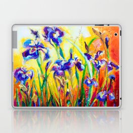 Alpha and Omega Impressionist Blue Irises Laptop & iPad Skin