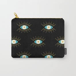 Teal Evil Eye on Black Small Pattern Carry-All Pouch