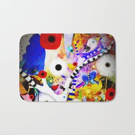 Since you are here - Striped Tree Black and white - Rainbow Abstract Art Bath Mat