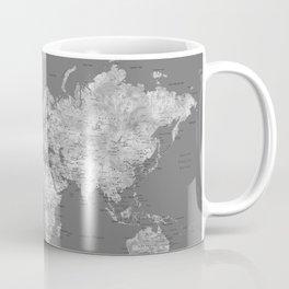 Dark gray watercolor world map with cities Coffee Mug