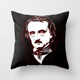 Edgar Allan Poe Circles Portrait Throw Pillow