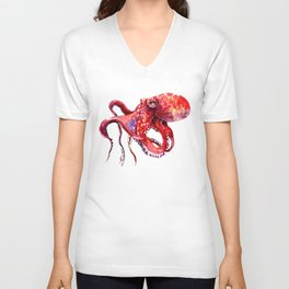 Tropical Red Octopus Unisex V-Neck