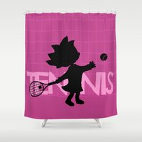 tennis Shower Curtains featuring Tennis by BLOOP