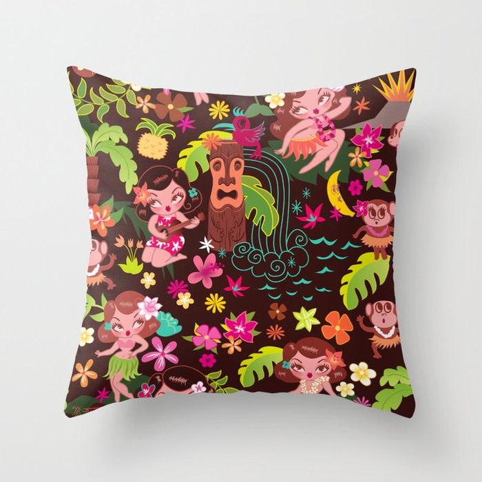 Hula Cuties Pattern Throw Pillow