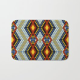 Aztec rhombus triangles red yellow blue Bath Mat