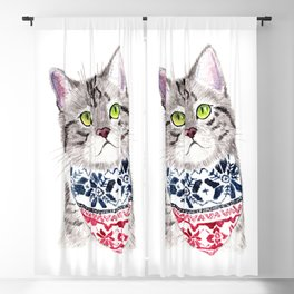 The Cat with Lovely Bandana Blackout Curtain